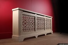 This three panel real wood oak veneer radiator cover is a wonderful example of precision Jali engineering and attention to detail. The grille used in this cabinet is Jali Create Your Own Furniture, Made To Measure Furniture, Eclectic Furniture, Bespoke Furniture, Cream Leather Sofa Living Room, Radiant Heaters, Victoria House, Hardwood Stairs, Radiator Cover