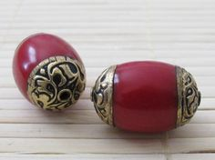 Tibetan coral brass capped beads with floral by Nepalbeadshop, $7.50