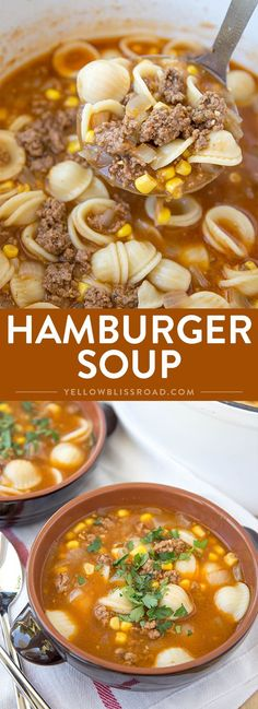 This Hamburger Soup is hearty and delicious, with a rich, flavorful broth. It takes less than 30 minutes from start to finish, making it a perfect busy weeknight meal solution. via @yellowblissroad