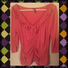 Mauve ruffle shirt Long sleeve mauve shirt with rouching  down the middle very flattering! Tops