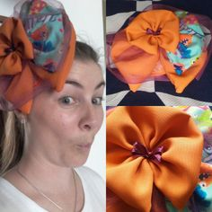 "Week 11 of 52: Wham Bam // Orange fabric pie with slice taken layered with vibrant ""bam"" blue fabric fan and orange flower with ribbon centre. $60 + shipping."