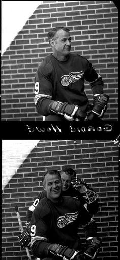 Gordie Howe of Detroit Red Wings and Gordie Howe with Alex Delvecchio in Bruins Hockey, Hockey Mom, Ice Hockey, Detroit Sports, Detroit News, Northern Girls, Steve Yzerman, Red Wings Hockey, Hockey Rules