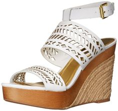 Lauren Ralph Lauren Womens Georgina Espadrille Wedge Sandal White 75 B US >>> Click image for more details. Platform Wedge Sandals, Sandal Heels, Women's Sandals, Ralph Lauren Shoes, Espadrille Wedge, Espadrilles, Wedges, Stuff To Buy, Things To Sell