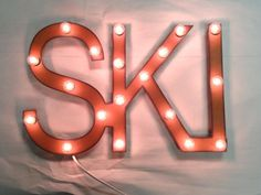 Rusted Recycled Metal Vintage Inspired SKI Lodge Cabin Lighted Marquee Sign