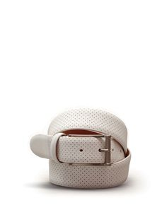 Rounded leather belt with punched holes. #ss15 #man #accessories