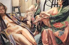 """""""Pearlstein handles the nude as a highly dynamic element in the design, made abstract by a variety of compositional devices. Two Seated Female Models in Kimonos with Mirror (1980, watercolor, 102x152cm) shows many of these: cropping the figure and viewing it in a distorting pose and from a distorting angle of view; presenting two or more figures in contrasting or complementary positions; complicating the image with folded and patterned textiles, angular objects or reflections; using a…"""