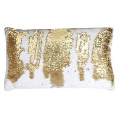 Thro by Marlo Lorenz Reversible Sequin Rectangle Melody Mermaid Faux Linen Pillow White Gold - TH011280006E
