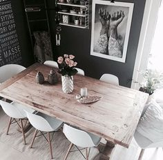 mix of dining room styles - rugged table with mid-century modern chairs, neutrals, minimalist decor, home, apartment