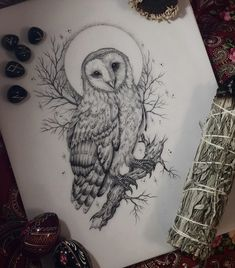 Feather Tattoo Design, Owl Tattoo Design, Feather Tattoos, Nature Tattoos, Flower Tattoo Designs, Bird Tattoos, Owl Tattoo Drawings, Tattoo Sketches, Tattoo Owl