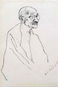 An ink-on-white-paper portrait of Mahatma Gandhi by Xu Beihong.