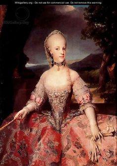 Maria Carolina of Austria, Queen consort of Naples, sister to Marie Antoinette. Date 1768-1775. Anton Raphael Mengs by Anton Raphael Mengs