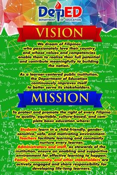 DepEd Mission and Vision for tarp print ft) Classroom Welcome, Classroom Rules Poster, Classroom Charts, Classroom Signs, Classroom Decor, Elementary Bulletin Boards, Teacher Bulletin Boards, Classroom Bulletin Boards, Elementary Math