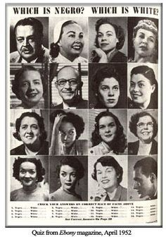 """Quiz from EBONY magazine April 1952~ Which is Negro? Which is White? Passing for white is a direct consequence of how race works in America. Because of the One Drop Rule if you look at all part black African you are seen as """"black"""" by """"whites"""" and suffer all the racism that goes with that."""