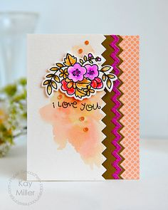 I Love You card by Kay Miller for Paper Smooches - Borders 3 Dies, Blossoming Buds