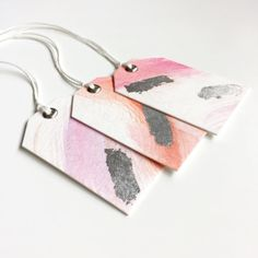 SOLD - Gift Tags Handmade Swing Tag Watercolour Gift by MinCardsAndThings