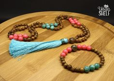 Fairy Tale • Wood Mala Necklace Bracelet Set • 108 beads • pink coral • tibetan agate • amazonite • mala beads • yoga gift • meditation bead