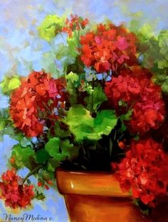 Summer Rain Red Geraniums by Floral Artist Nancy Medina, painting by artist Nancy Medina