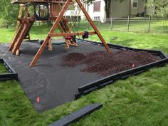 Weed barrier, borders and mulch under a playset.                                                                                                                                                                                 More