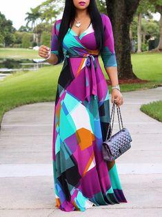 abee58c2815 Contrast Color Half Sleeve Sexy V-Neck Maxi Dress