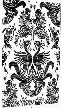 Pattern drawing of silk fabric maybe of burial dalmatic of Charles IV.   Royal crypt of Prague castle. Production: Italy, 14.c. By: Gollerova-Placha (1937)