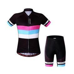 Women's Black Short Sleeve Cycling Jersey Set #Cycling #CyclingGear #CyclingJersey #CyclingJerseySet