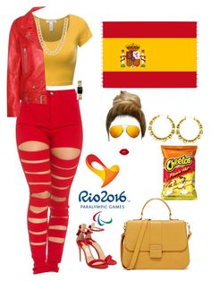 """Spain flag"" by kenni35 on Polyvore featuring Opening Ceremony, Lime Crime, Linda Farrow, Acne Studios, Salvatore Ferragamo and Chanel"