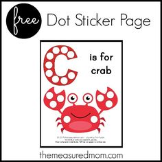 Get this free letter C printable: C is for Crab!