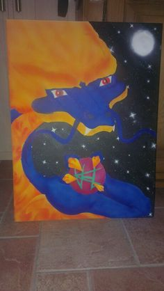 Airbrush dragon with glow in the dark stars ^^