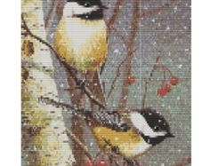 Lady Cardinal In The Snow pattern for loom or peyote by GGsDesigns