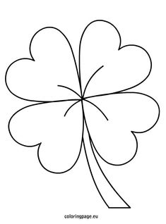 Shamrock Lucky Template - Four Leaf Clover - Coloring Home Pages Pattern Coloring Pages, Animal Coloring Pages, Mandala Painting, Stencil Painting, Four Leaf Clover Drawing, March Themes, Clover Tattoos, St Patricks Day Crafts For Kids, Floral Embroidery Patterns