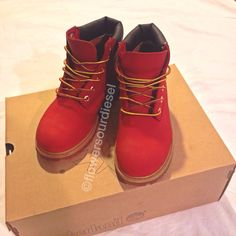 Red Timberland Boots Mens Sizes by FlowerSourDiesel on Etsy, $260.00