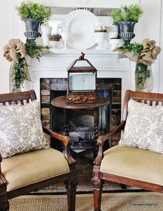 love the mantel and burlap.  Idea for Christmas