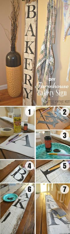 Check out how to make an easy DIY Farmhouse Bakery Sign for kitchen decor @istandarddesign