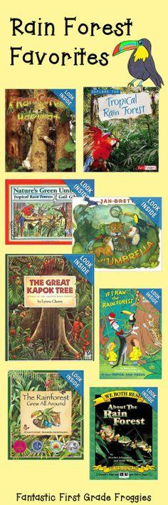 Fantastic First Grade Froggies: Rain Forest Books Rainforest Preschool, Rainforest Classroom, Rainforest Habitat, Rainforest Theme, Rainforest Crafts, Amazon Rainforest, Preschool Books, Book Activities, Forest Book