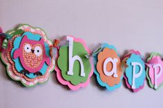 Owl Happy Birthday Banner Pink, Orange, Turquoise, and Green Baby Shower Polka Dot Shabby Chic Party Decorations on Etsy, $42.00