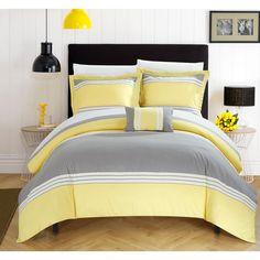 Chic Home Sawyer Yellow Duvet 4-Piece Set (King-Yellow)