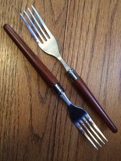 "Retroneu Stainless Wood Like Brown Plastic Handle 2 Salad Forks 7 5"" | eBay"