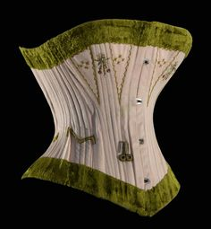 046aaac178 Coutil corset with moss green velvet binding