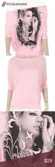 Pretty In Pink Soft Tee!! You will love it! Soft and wonderful trendy tee with lady and crystals!! So soft and pretty! icandifashions Tops