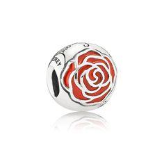 PANDORA | Disney Belle Enchanted rose silver charm with red enamel