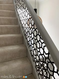 Laser cut balustrade and glazed screens - Miles and Lincoln - Laser Cut Screens Steel Railing Design, Balcony Railing Design, Iron Stair Railing, Staircase Railings, Stairways, Laser Cut Screens, Laser Cut Panels, Stainless Steel Railing, Laser Cutting
