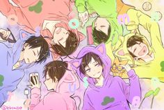 Osomatsu, Karamatsu, Choromatsu, Ichimatsu, Jyushimatsu y Todomatsu Dark Anime Guys, Hot Anime Boy, All Anime, Anime Art, Anime Siblings, Osomatsu San Doujinshi, Yandere Anime, Ichimatsu, Kawaii Anime