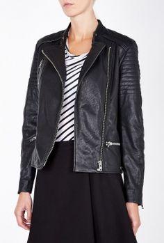 Black Biker Leather Jacket by Maison Scotch