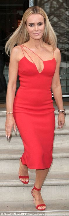 Red-dy for action: Amanda Holden arrived at the Britain& Got Talent photocall at the Regent& Street Cinema in London on Thursday wearing a very sexy red dress after modelling another design Haute Couture Style, Red Lipstick Outfit, Black Desert Online, Sexy Dresses, Dress Outfits, Britain's Got Talent, White Lips, High Fashion Photography, Red High Heels