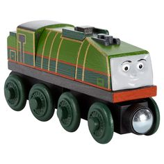 """As seen in the DVD movie, Tale of the Brave! Gator is a brave engine working in the high mountains whose real name is Gerald. He is nicknamed """"Gator"""" because his long sloping water tank makes him look like an alligator! Gator can connect to other Wooden Railway engines and vehicles with magnet connectors. Perfect for Thomas & Friends Wooden Railway train sets (sold separately and subject to availability)! 2Y+"""