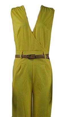 364167e244c Yayun Yayu Women s Deep V-Neck Wide Leg Belt Pure Color Romper Jumpsuits