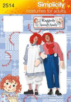 Raggedy Ann and Andy Costume Sewing Pattern 2510 Simplicity. Think this will be our Halloween costumes this year. Halloween Costume Patterns, Toddler Halloween Costumes, Cute Costumes, Adult Costumes, Halloween Sewing, Halloween 2014, Adult Halloween, Couple Halloween, Raggedy Ann And Andy