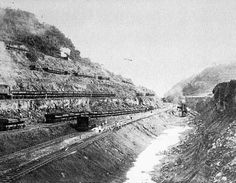 TRANSPORT: Panama Canal. Pictured is the Culebra Cut through the continental divide, one of the most difficult operations. The United States took over the project in 1904, and took a decade to complete the canal, which was officially opened on August 15, 1914.