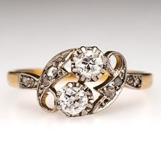 Victorian Diamond Ring w/ Twin Old European Cuts in 18K Gold