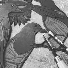 More lino plates magpies this time ... Loving carving these . . . . . #linocut #printmaking #blockprinting #lino #magpie #magpiemonday